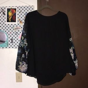 Black plus size sheer blouse  2x